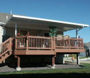 Patio cover over a wooden deck